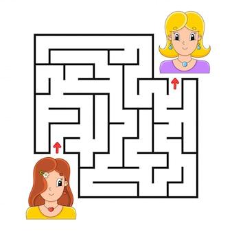 Квадратный лабиринт игра для детей. пазл для детей.