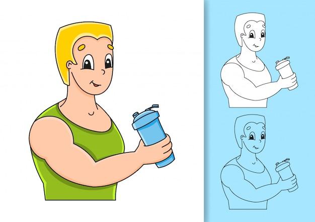 Набор иллюстраций на белом и цветном фоне. сильный улыбающийся молодой человек.