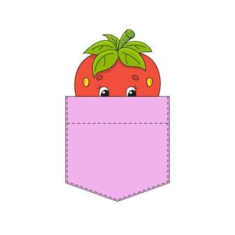 シャツのポケットにイチゴ。