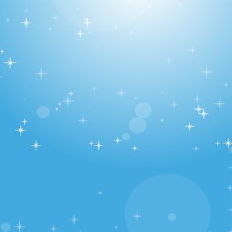 ボケ味と星と青い空の抽象的な背景の色。