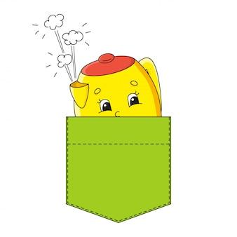 シャツのポケットに黄色のティーポット。