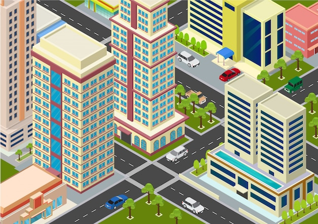 Плоский изометрический городской мегаполис блоков