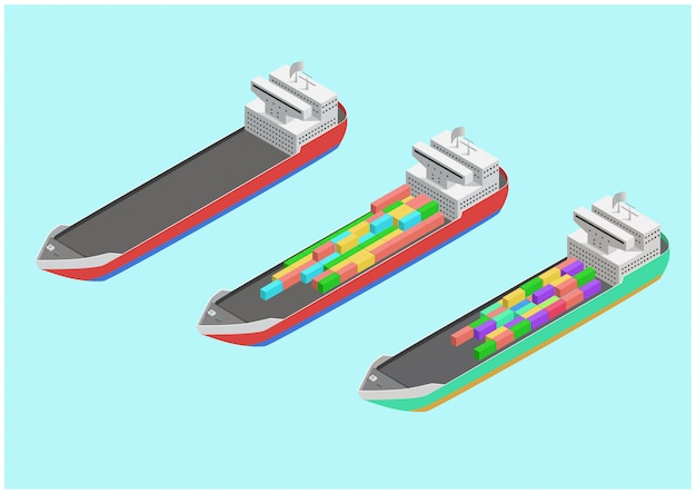 Изометрические коммерческий грузовой корабль