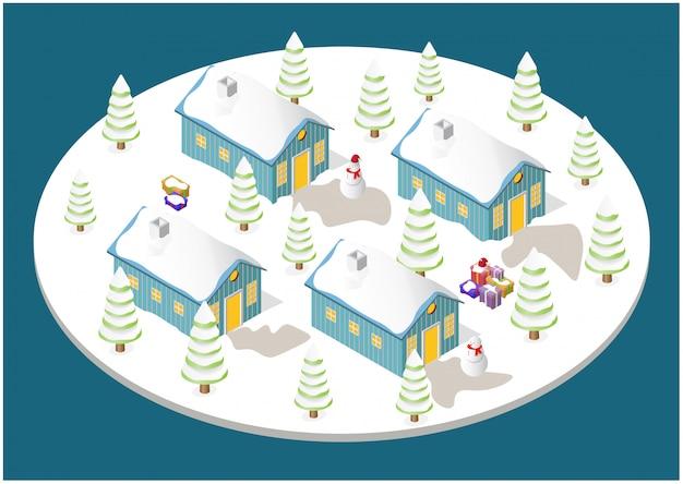 Рождественский домик, елка, снеговик и подарочные коробки