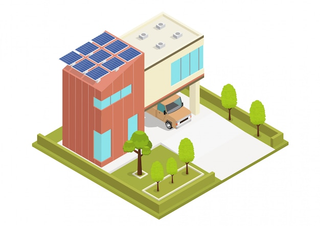 Современный зеленый эко дом с солнечными батареями