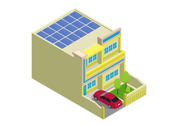 ソーラーパネルとモダンな緑のエコハウス