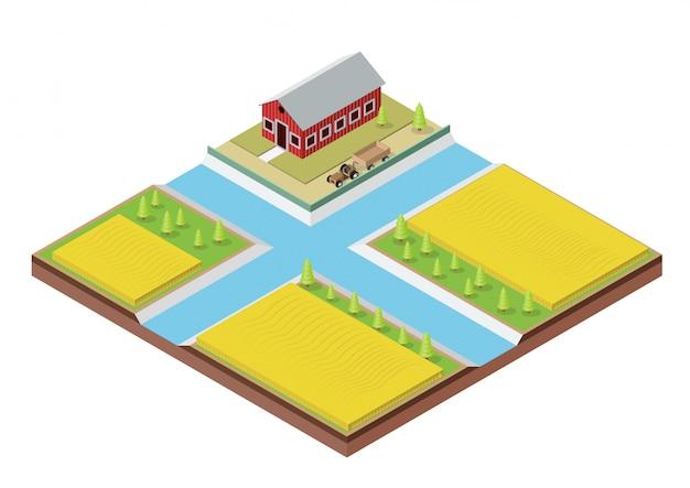 建物と等尺性農場