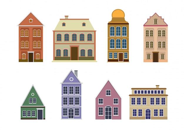 ヨーロッパのカラフルな古い家のセット