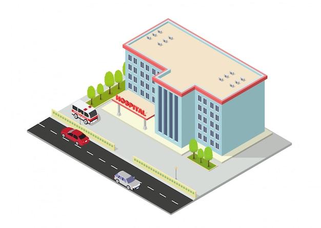 Изометрическое современное здание больницы с машиной скорой помощи