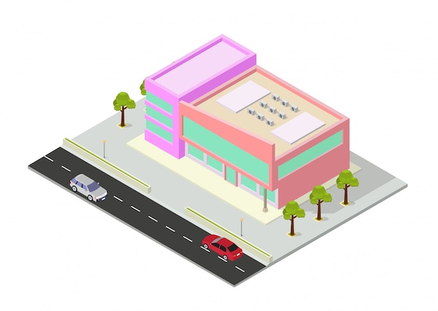Изометрические торговый центр или здание супермаркета
