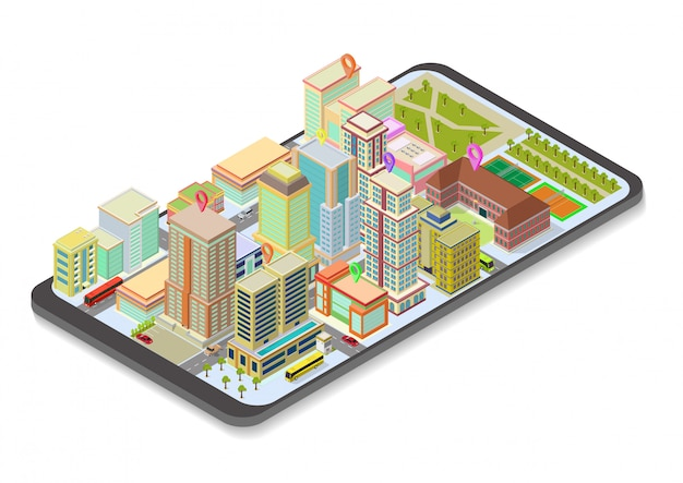 スマートフォンで等尺性市内地図
