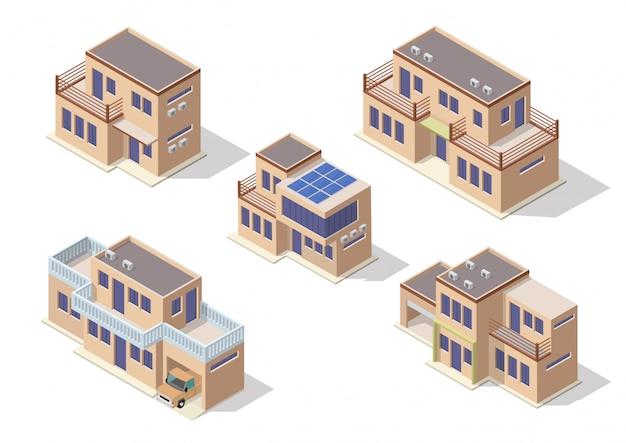 モダンな家を表すベクトル等尺性のアイコンセットまたはインフォグラフィック要素