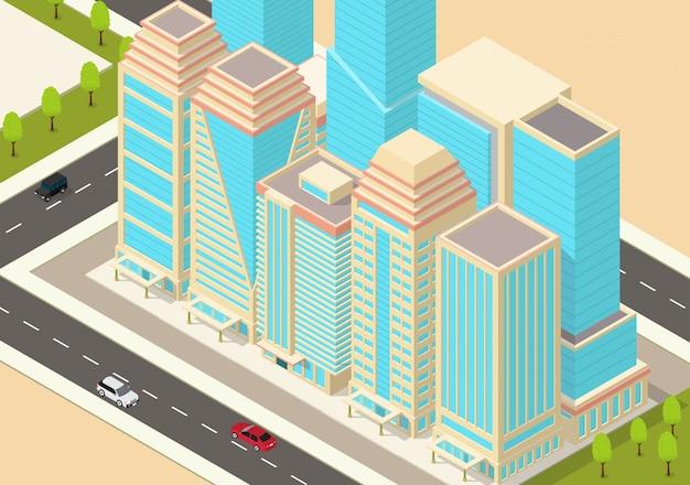 Изометрические город с небоскребами и шоссе
