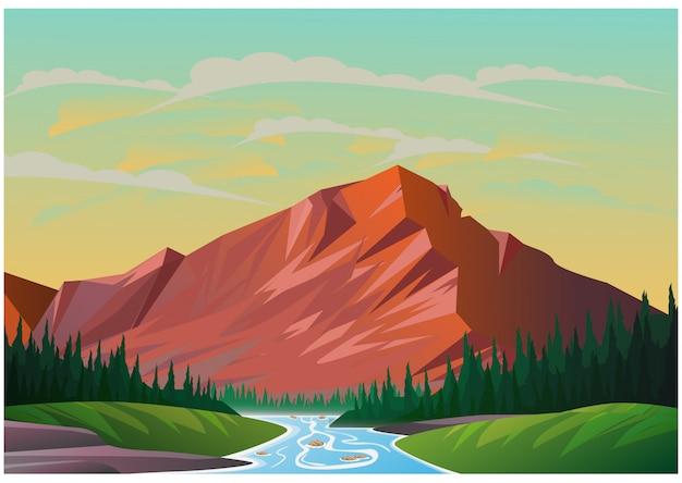 山の風景のリアルなイラスト