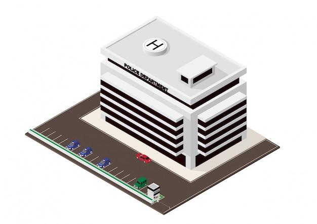 Вектор изометрические здание отделения полиции