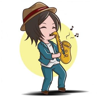 Милый мальчик играя саксофон., концепция джазовой музыки.