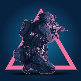 ベクトル警官の戦術的なシュートの図。自動小銃で撮影する準備をしている武装した警察軍。