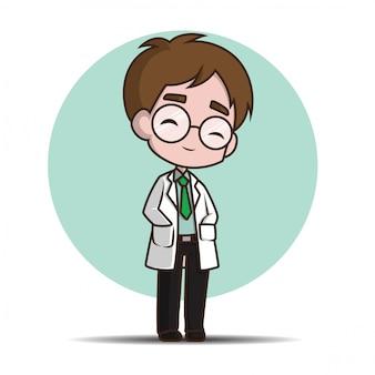 かわいい漫画のキャラクターの医者。