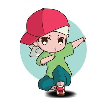 Милый персонаж из мультфильма танцора., концепция работы.