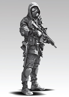 警官の戦術的なシュートのイラスト。武装した警察の軍隊が自動小銃で撃つ準備をしています。