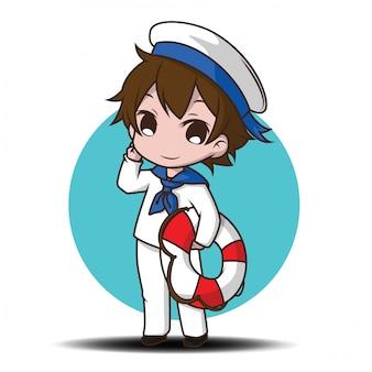 船員を着てかわいい笑顔の小さな男の子のキャラクター。