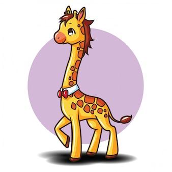 かわいいキリンの漫画のキャラクター。動物漫画のコンセプトです。