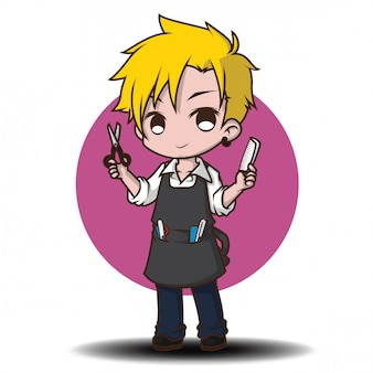 かわいい理髪師の漫画のキャラクター。