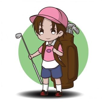 かわいいキャディーの漫画のキャラクター。