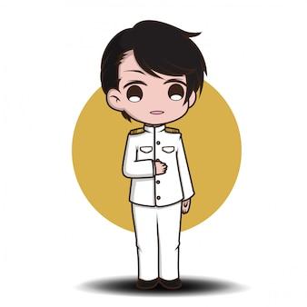 かわいい政府漫画のキャラクター。白いスーツ。