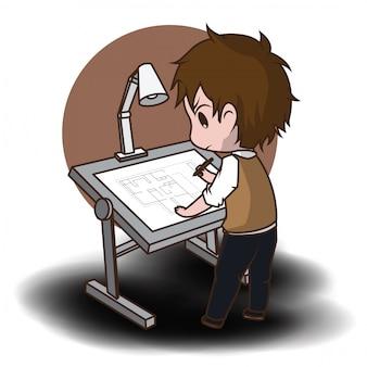 かわいい建築家の漫画のキャラクター。