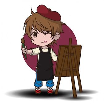 かわいいアーティストの漫画のキャラクター。