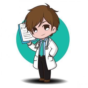 Милый мультфильм характер доктор стиль.