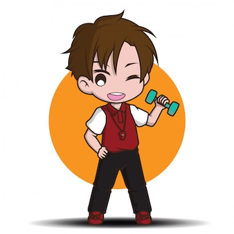 かわいいトレーナーの漫画のキャラクター、仕事の概念。
