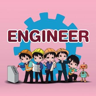 かわいいエンジニア漫画のキャラクターのスタイル。仕事のコンセプトです。セット。