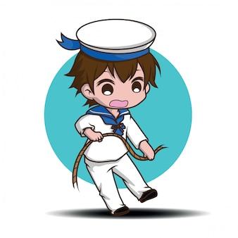 Мило улыбаясь маленький мальчик персонаж носить моряков.