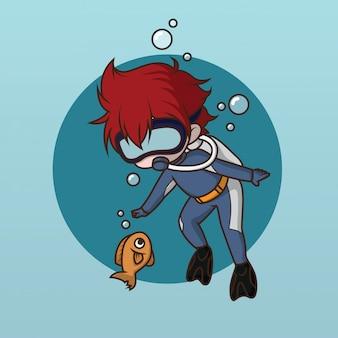 かわいい水ダイバーのキャラクターデザイン。