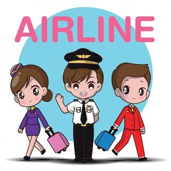かわいい漫画のキャラクターのエアホステススチュワーデスパイロット。、航空会社のコンセプト。