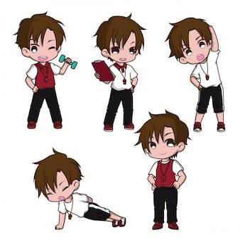 かわいいトレーナーの漫画のキャラクター、仕事の概念を設定します。