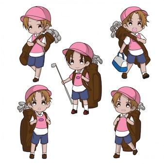 かわいいキャディーの漫画のキャラクターを設定します。仕事のコンセプトです。