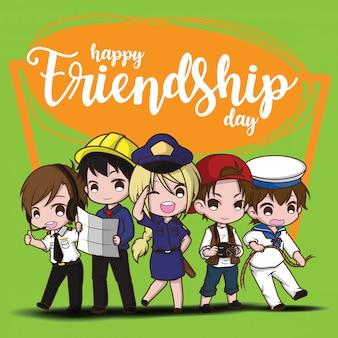 Счастливый день дружбы., дети в костюме работы., концепция работы.