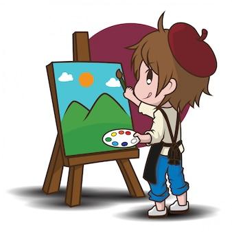 かわいいアーティストの漫画のキャラクター。仕事のコンセプトです。