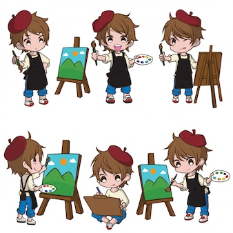 かわいいアーティストの漫画のキャラクターを設定します。仕事のコンセプトです。