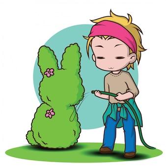 Милый персонаж садовника