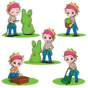 Установите милый характер садовника., концепция работы.