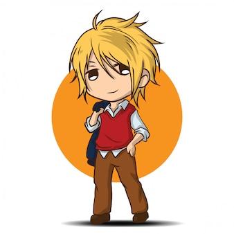 かわいいモデルの少年漫画。仕事の概念