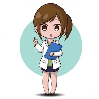 かわいい薬剤師漫画、仕事のコンセプト。
