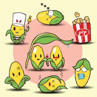 かわいい漫画のトウモロコシセット