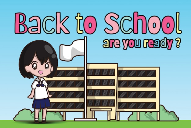 学校に戻るの女の子。準備はできたか?