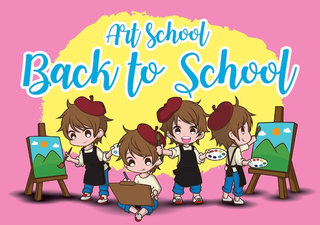 美術学校。学校に戻る。かわいいアーティストの漫画のキャラクター。