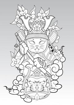 雲と桜の花の上の猫侍